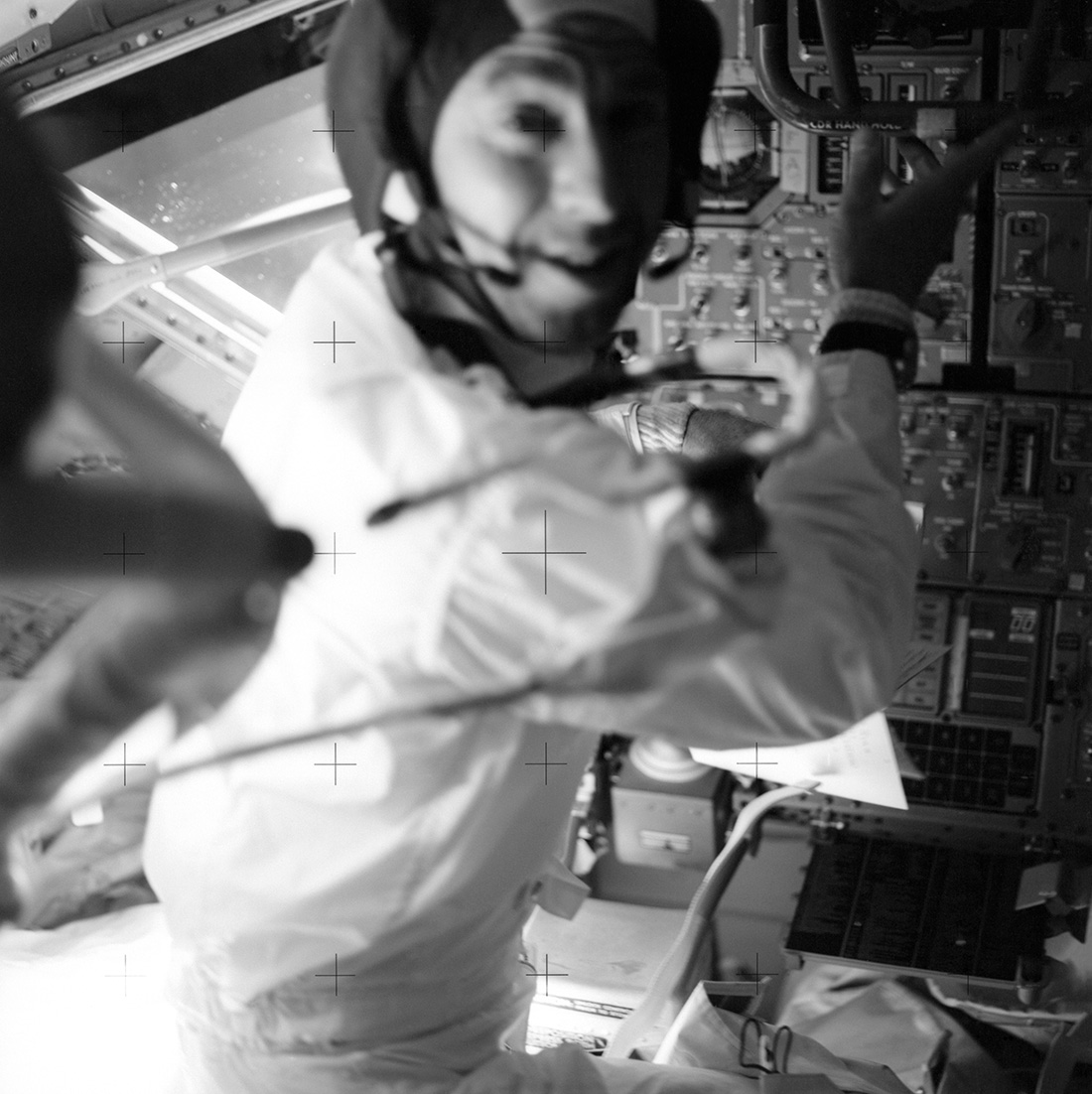 Astronaut James Lovell at his position in the Lunar Module